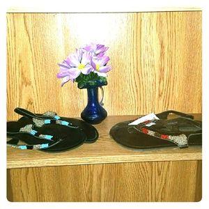 Size 8 Icing beaded flip flops